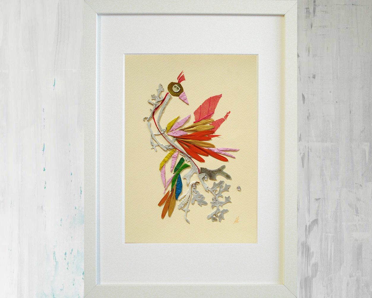 Dried Flowers Art Bird Original Botanical Artwork Mixed Media Collage Framed Decorative Living