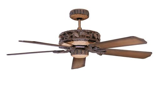 Ranch 52 Inch 5 Blade Old World Leather Ceiling Fan with Light Kit - 52PD5OWL