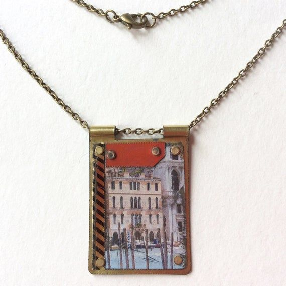 """Photo of Upcycled Reversible Tin Pendant Necklace, Venice Italy, 20"""" Antiqued Bronze Chain"""