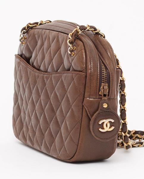 Vintage Chanel Brown Quilted Shoulder Bag