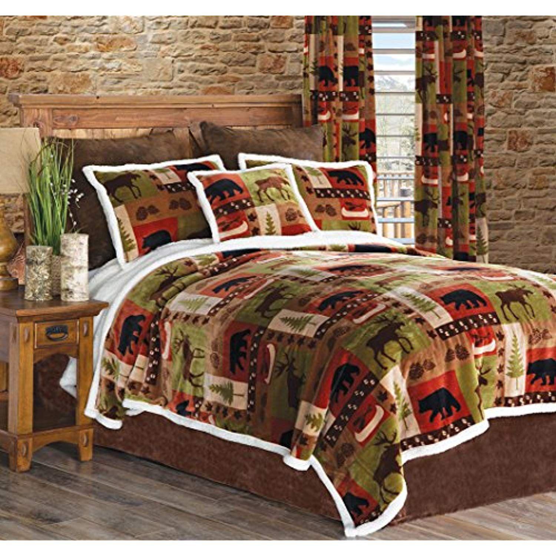 Carstens Patchwork Lodge Plush Bedding Set, Queen