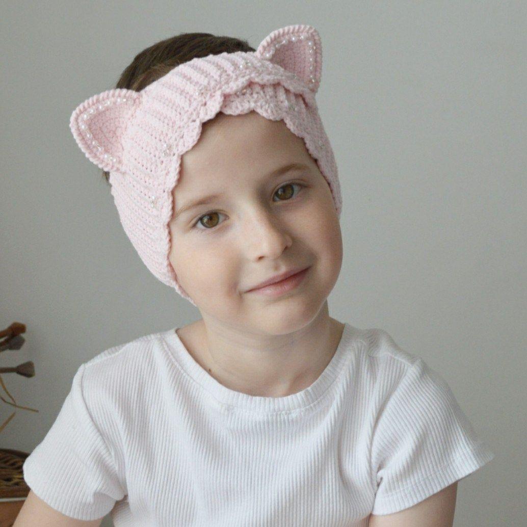 Crochet Cat Ear Warmer Plaid Winter Headband Pink Plaid Cat Ear Warmer