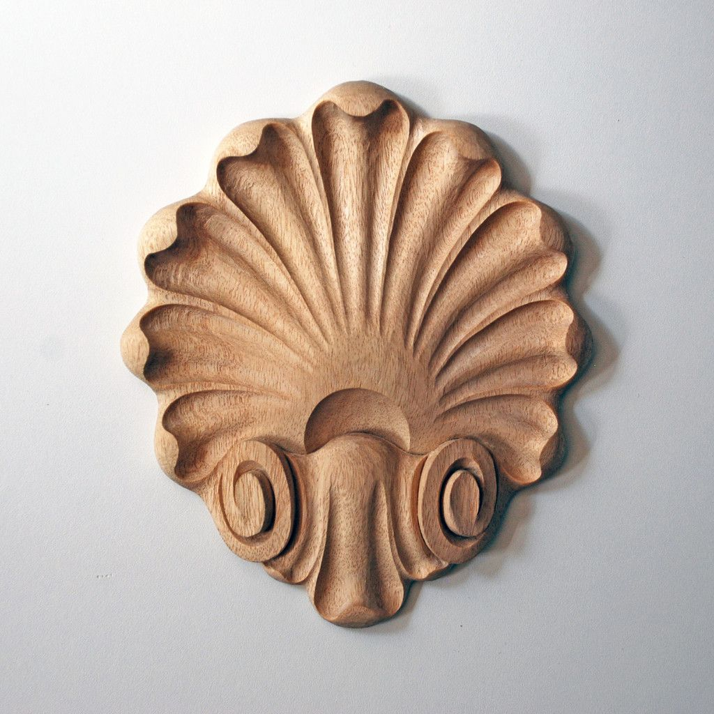 French style scallop shell appliqué hand carved wood