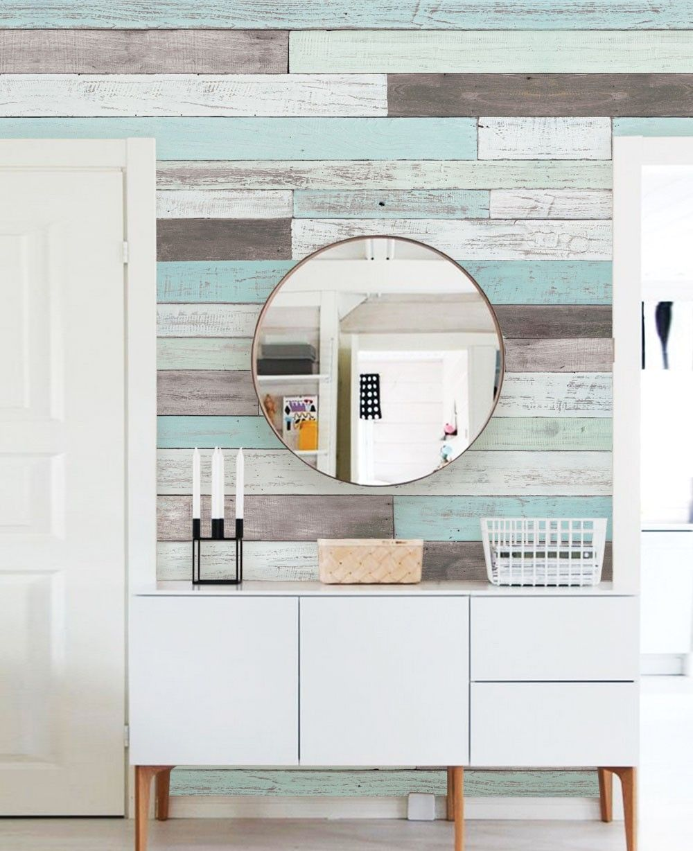 Reclaimed painted beach wood mural wall art wallpaper peel and