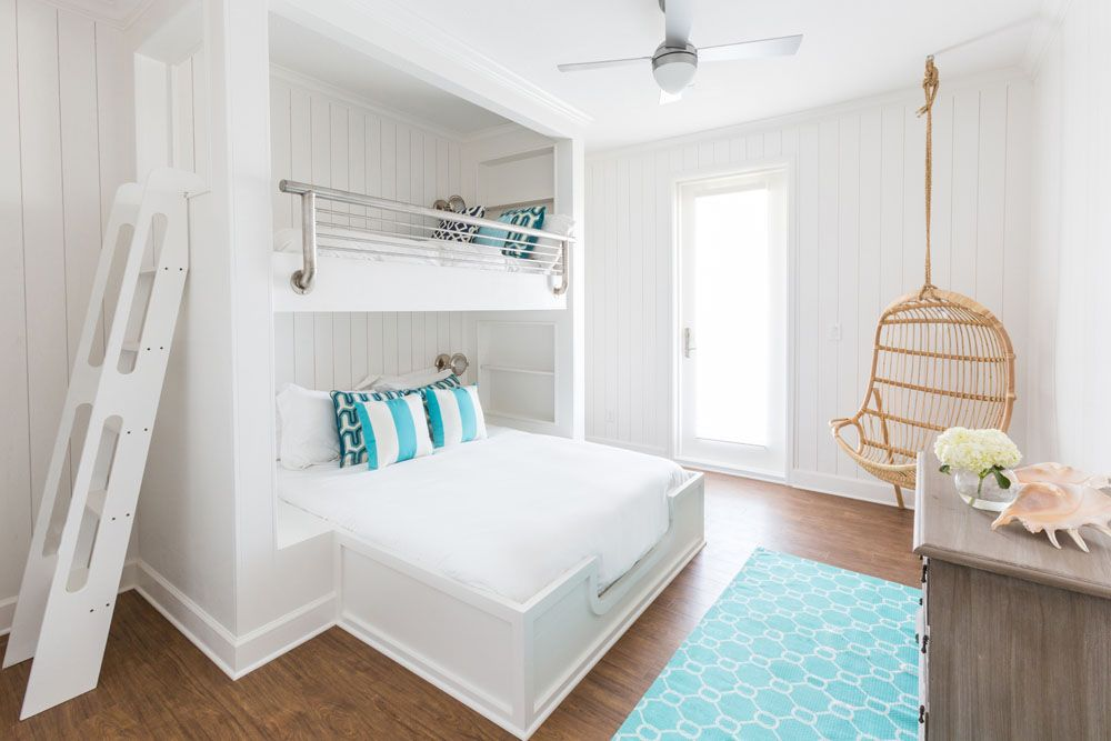 4 3 Beach House Bunk Beds White Hanging Chair Turquoise