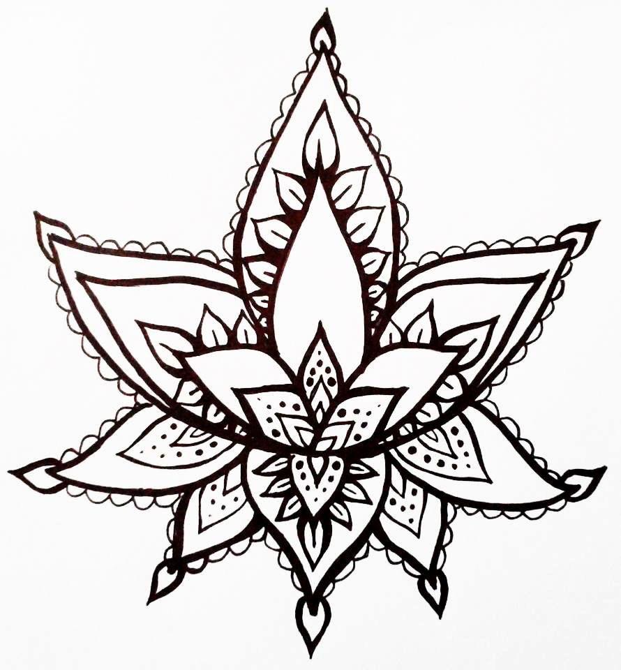 Lotus Flower Temporary Tattoo Hand Drawn Henna Style Illustration