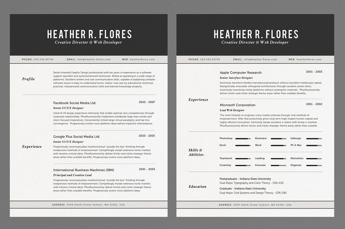 2 Pages Resume Set CV Template Cv template, Resume