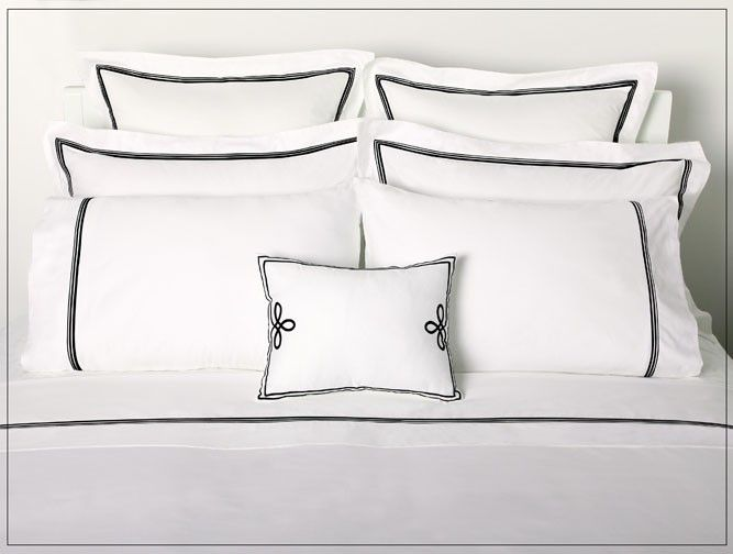 Love This White With Black Trim Bedding