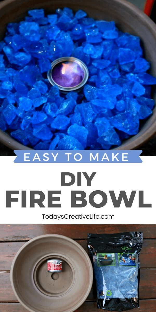 Easy to make DIY Tabletop Fire Bowl with rock, flammable gel and a fireproof container. See TodaysCreativeLife.com for a full tutorial.