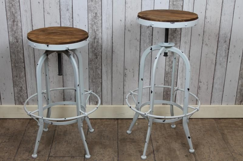 Shabby Chic Industrial Style Swivel Bar Stools Old White Vintage