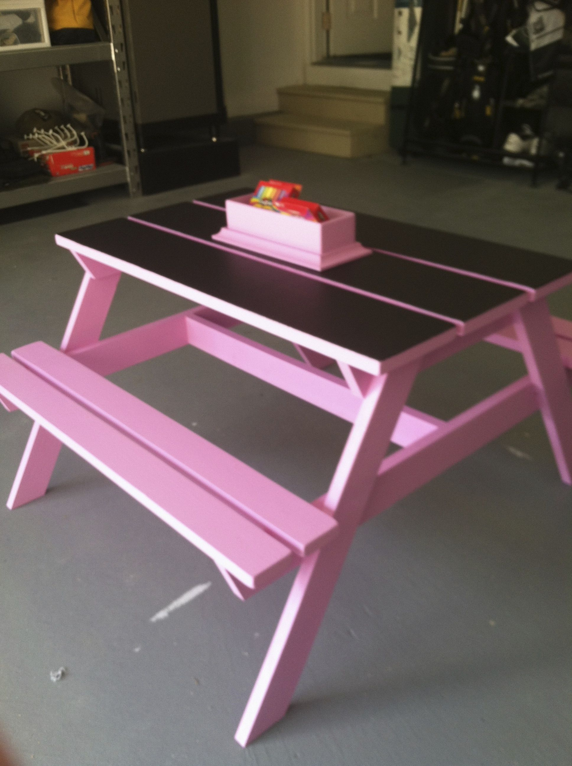 Kids Picnic Table With Chalkboard Paint On Top I Made