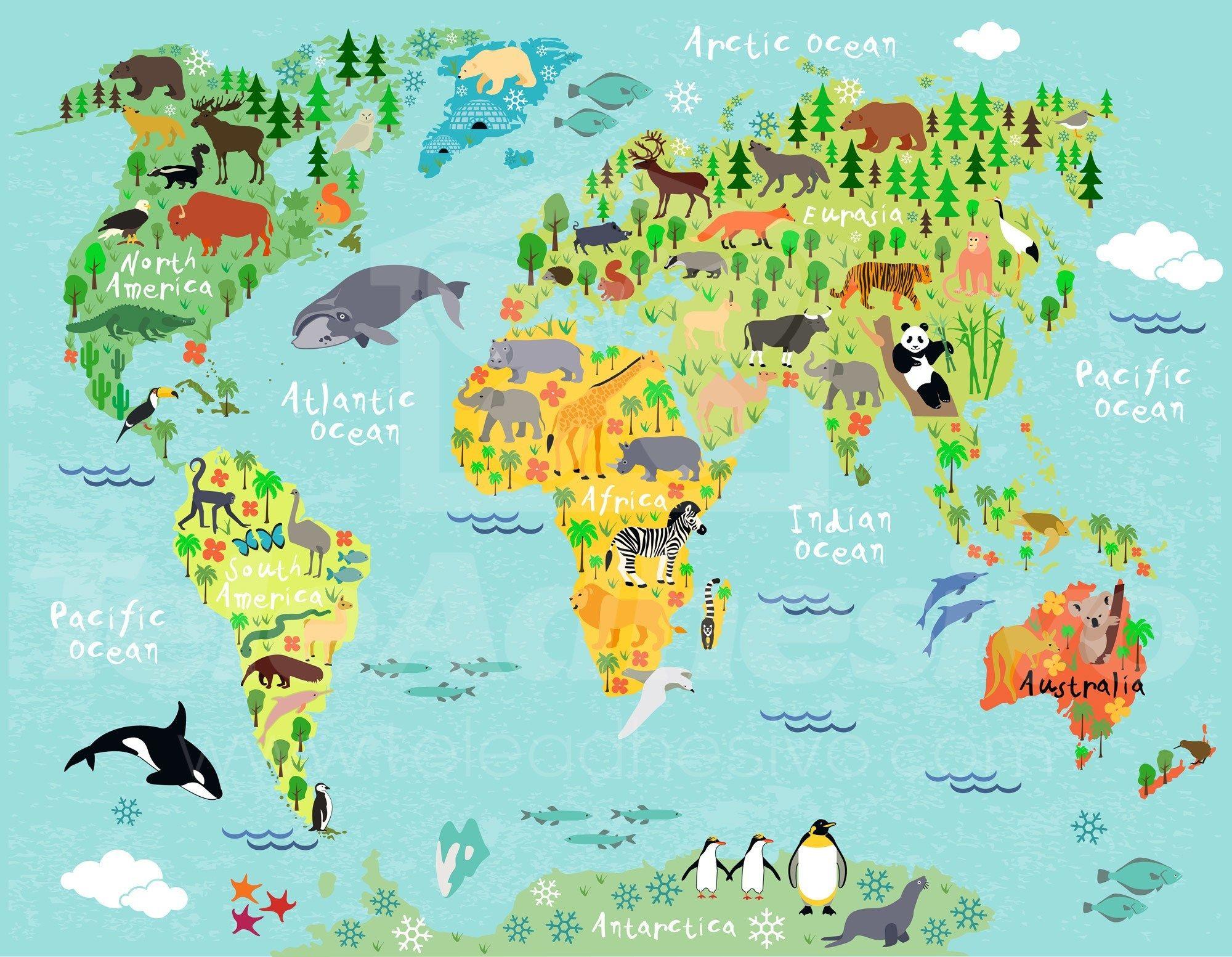 Mapa mundi infantil pesquisa google mapa mundo - El mundo del papel pintado ...