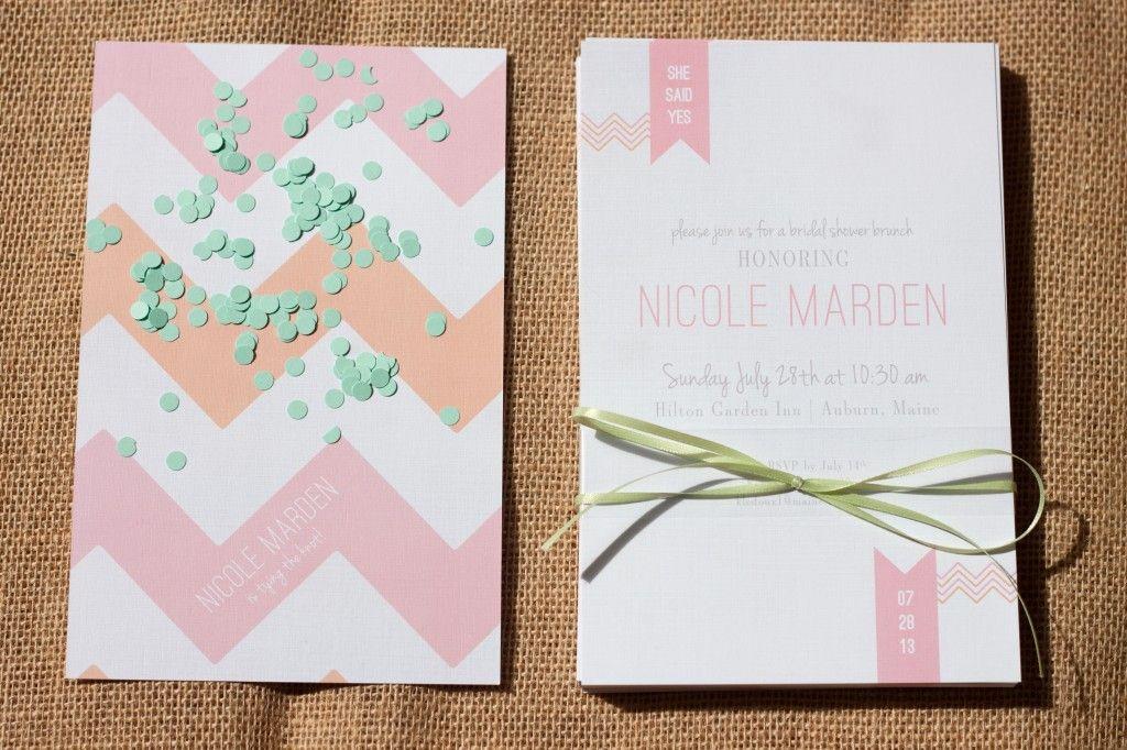 Chevron & Linen bridal shower invitation, bridal shower brunch, blog post, wedding inspiration