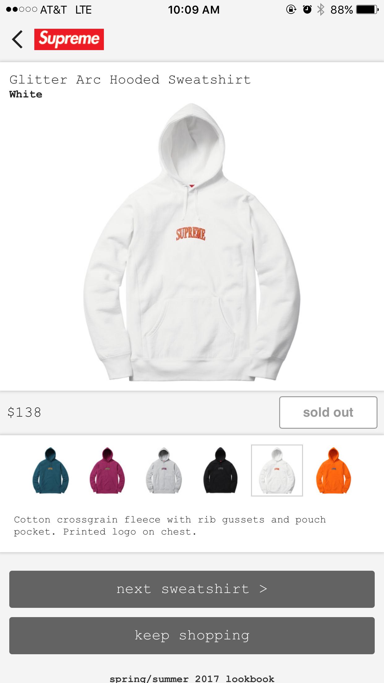 Supreme Glitter Arc Hoodie White Sweatshirt Hoodies Hooded Sweatshirts [ 2208 x 1242 Pixel ]