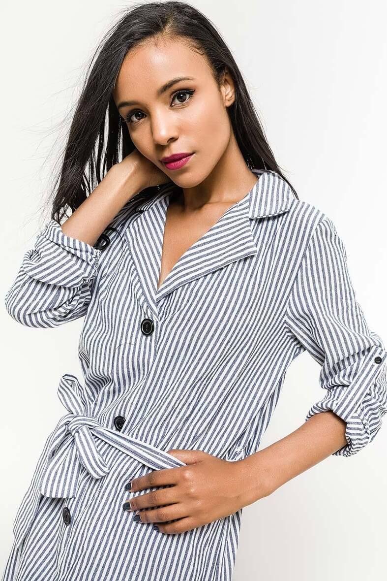 Čierno-biele pruhované košeľové šaty s gombíkmi  8f599cd8283