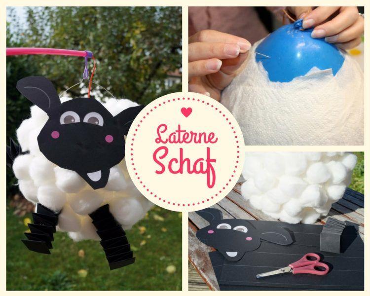 Laterne basteln aus Luftballon – Shaun das Schaf, mit Anleitung+Vorlage #laternebasteln