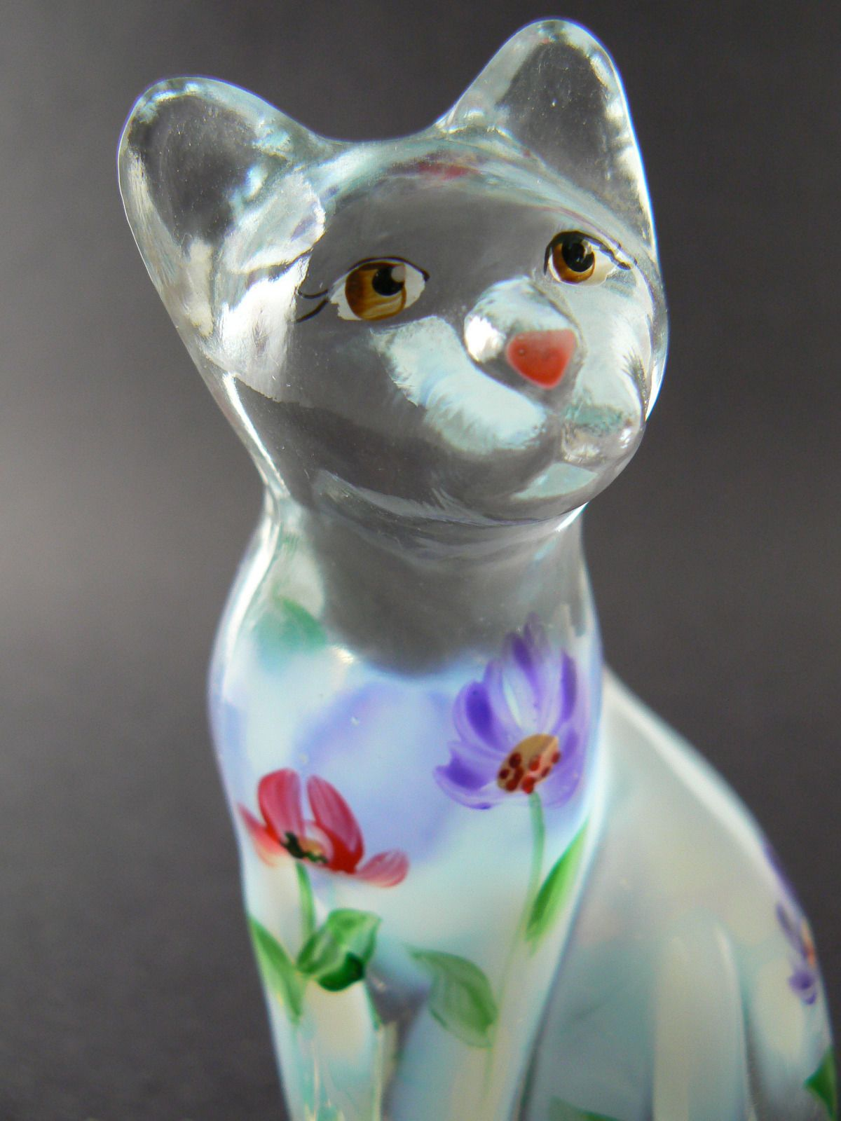 Fenton Lenox Clear Glass Hand Painted Figurine Paperweight
