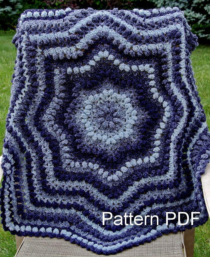 Crochet Pattern Easy Round Ripple Blanket 8 Points Pdf 550 Via