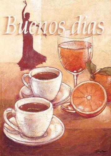 Bjoern-Baar-Buenos-Dias-Leinwand-Bild-24x30-Wandbild-Kueche-Cafe - wandbilder für die küche