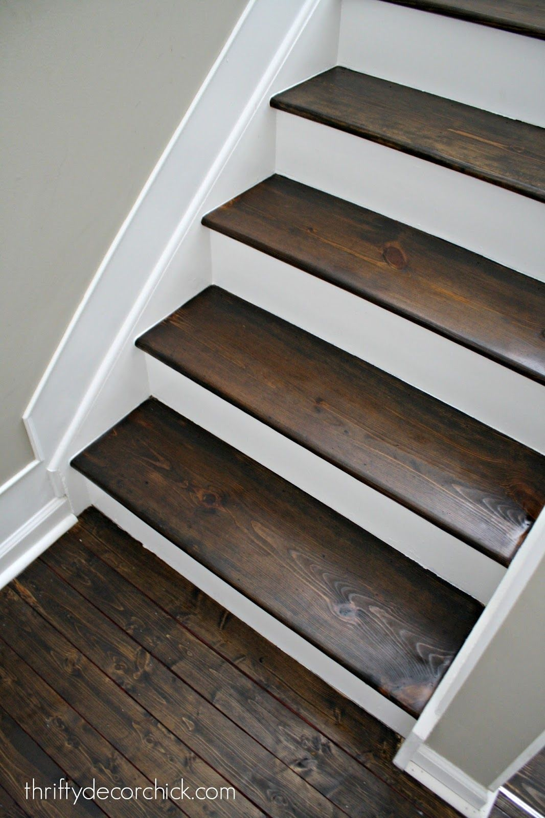 Wood And White Stair Makeover Diy Staircase Wood Stairs Stair