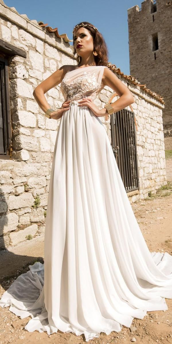 Julija Bridal Fashion Wedding Dresses — Lagonissi 2019 #greekweddingdresses julija bridal fashion wedding dresses a line assymetric neckline floral 2019 greek style #greekweddingdresses