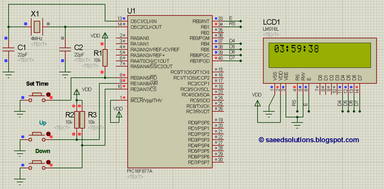 PIC16F877A based digital clock using LCD display (Code+Proteus