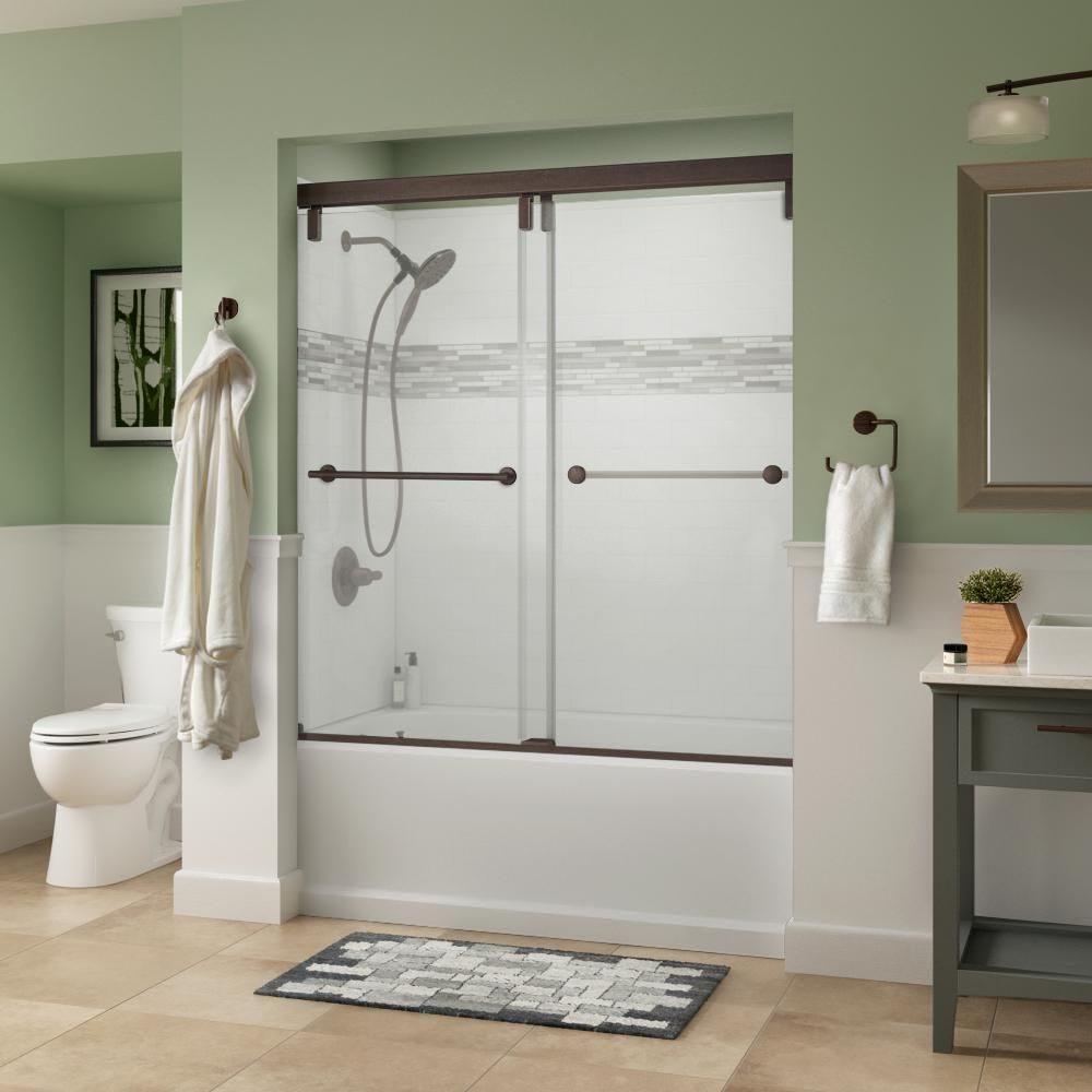 Delta Lyndall 60 X 59 1 4 In Frameless Mod Soft Close Sliding Bathtub Door In Bronze With 3 8 In 10mm Clear Glass Sd3442373 Bathtub Doors Frameless Sliding Shower Doors Tall Cabinet Storage