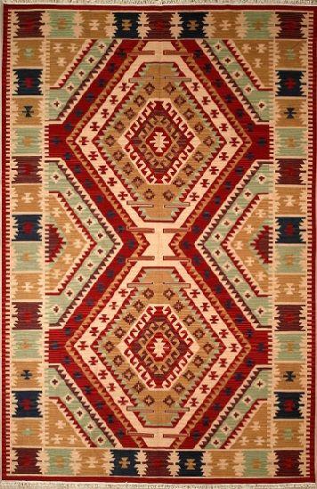 Handmade Rectangular Anatolian Kilim Area Rug In Red With Beige Accents 6x9 Handmade Anatolian Kilim Area Rug With Geometr Rugs Tribal Area Rug Kilim Area Rug