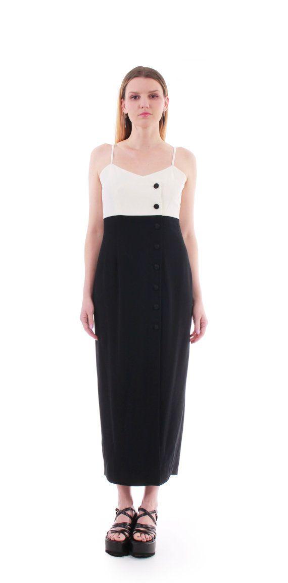 Vintage 90s black minimal strap maxi dress