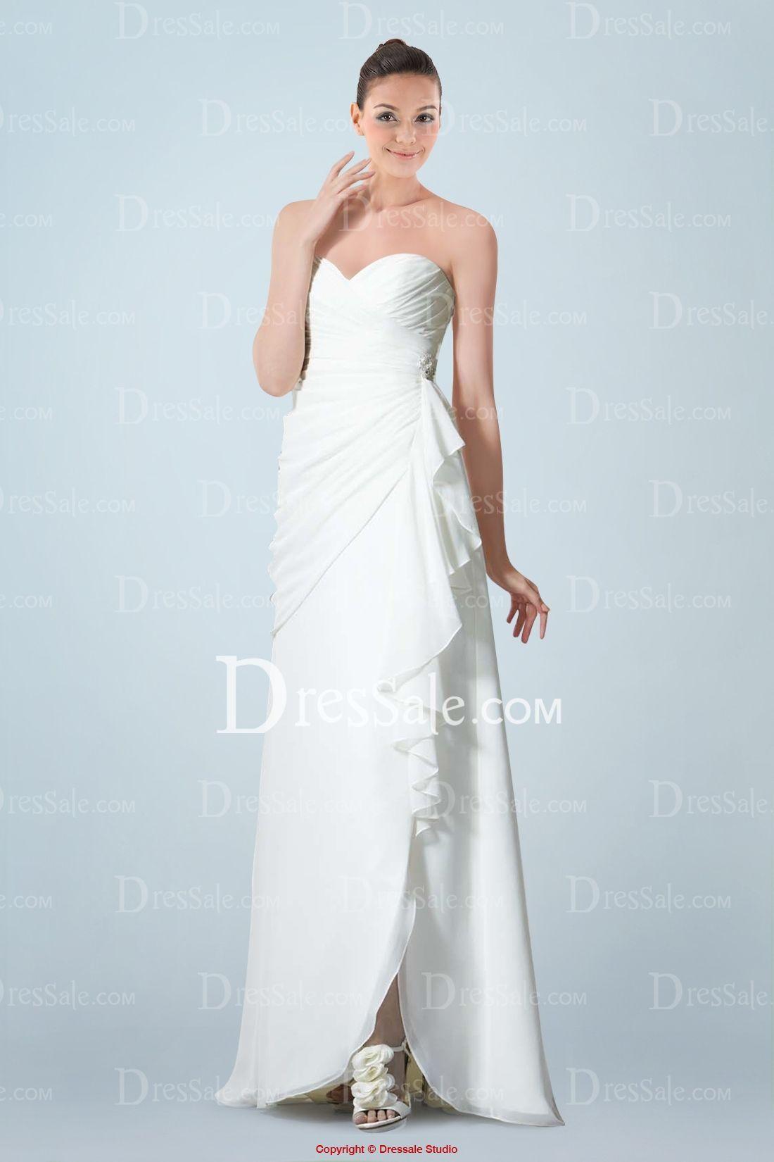 Wedding dresses for a beach wedding  Elegant Sweetheart Chiffon Column Wedding Gown Featuring Feminine