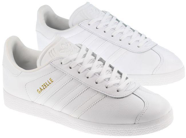white leather adidas gazelle