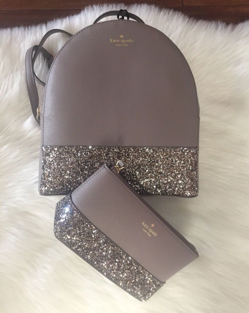 Kate Spade Greta Court Sammi Gray Glitter Backpack Bag Set  fashion   clothing  shoes  accessories  womensbagshandbags (ebay link) 4ee04d9d31bcf