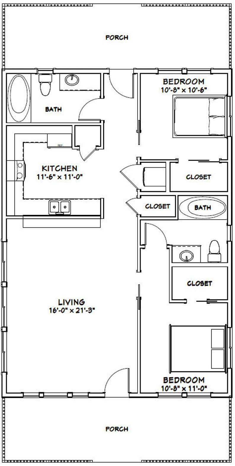 28x40 House 2 Bedroom 2 Bath 1120 Sq Ft Pdf Floor Etsy Tiny House Floor Plans Small House Floor Plans Tiny House Plans
