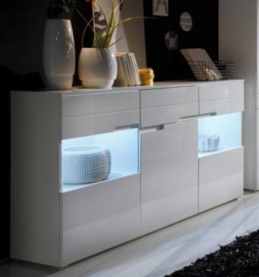 Sideboard weiss Hochglanz mit LED-Beleuchtung Jetzt bestellen - wohnzimmer weiß hochglanz