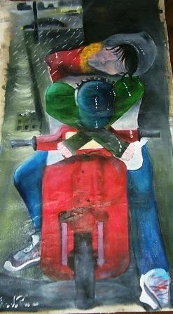 Ci mancava la pioggia olio su tela 200 dimensioni cm 90 x 170 VENDUTO - PRIVATO www.edoardopiva.com