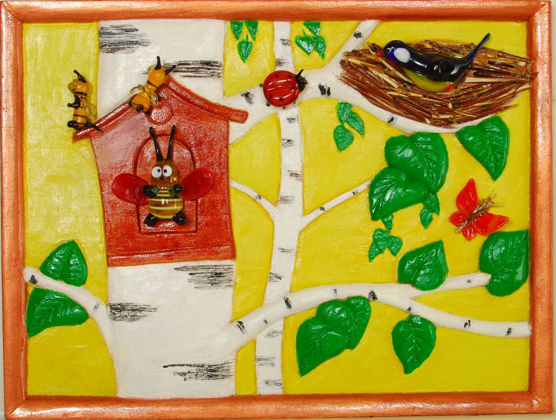 "NEW! Painting ""Merry bumblebee"". Wall Art, Acrylic Painting On Wood, Original Painting, Wall Decor, Glass Art, Artwork by Alex Pelesh. by PeleshArtStudio on Etsy"