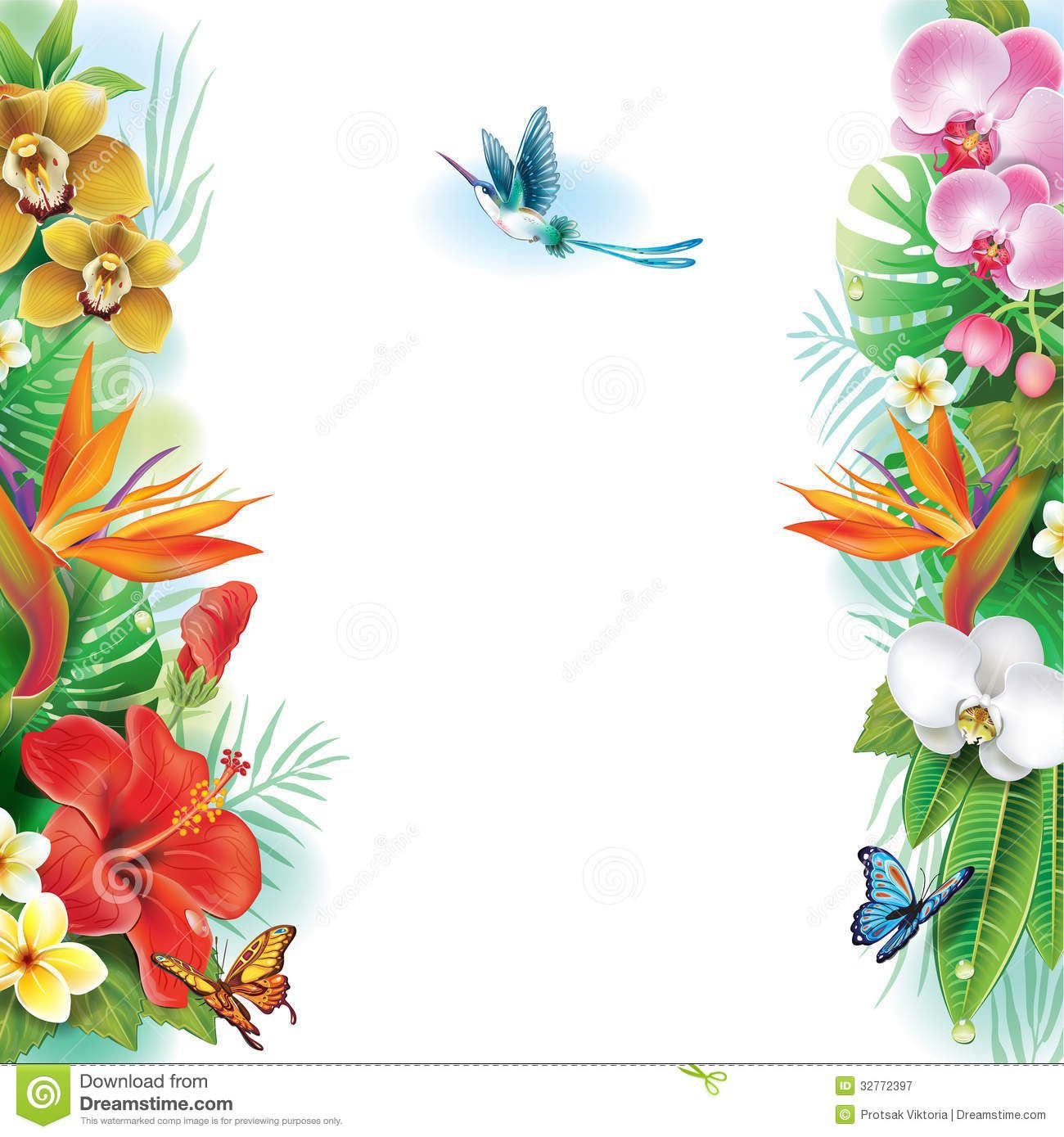 tropical leaves clipart | Clip Art Flower Border Border From ...