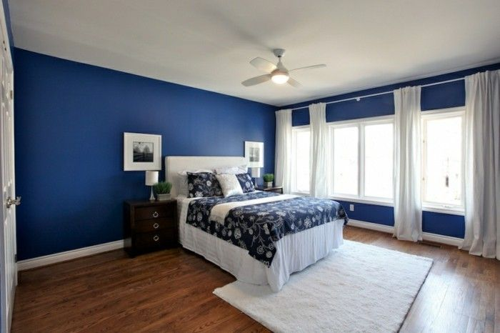 Feng Shi Schlafzimmer Design Blau Dunkel Doppelbett Weisse
