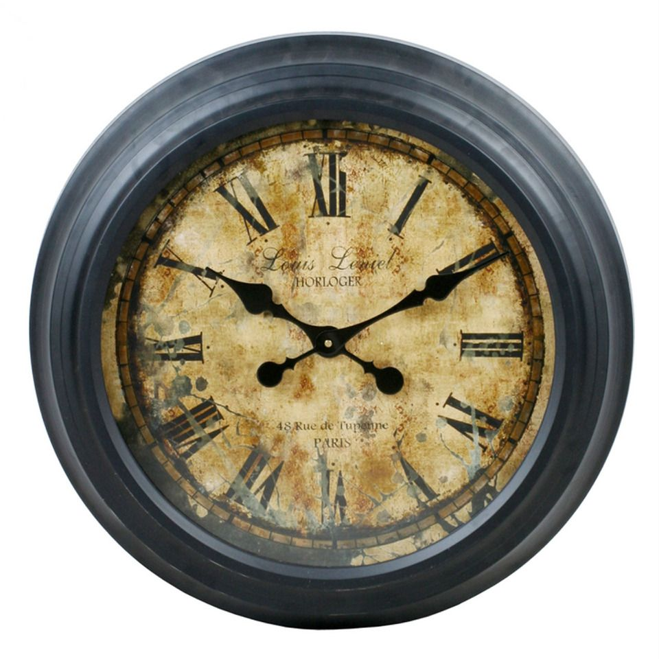 Round Vintage Clock Oversized Wall Clock Vintage Wall Clock Black Wall Clock