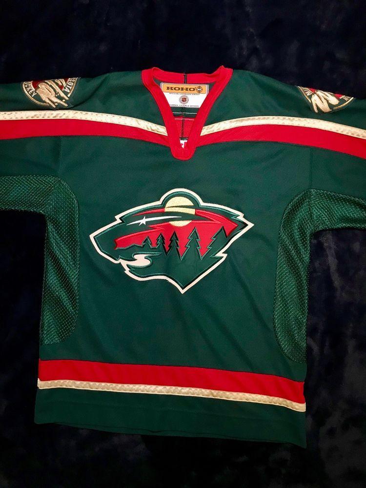 be79ed863 Vintage MN Wild Original Away Jersey Green (2000-2003) Official NHL Size  Large (eBay Link)