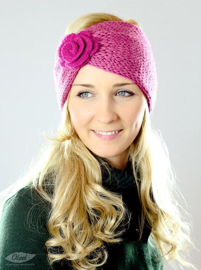 Pink Flower Knit Headband Women Ear Warmers Crochet Head wrap