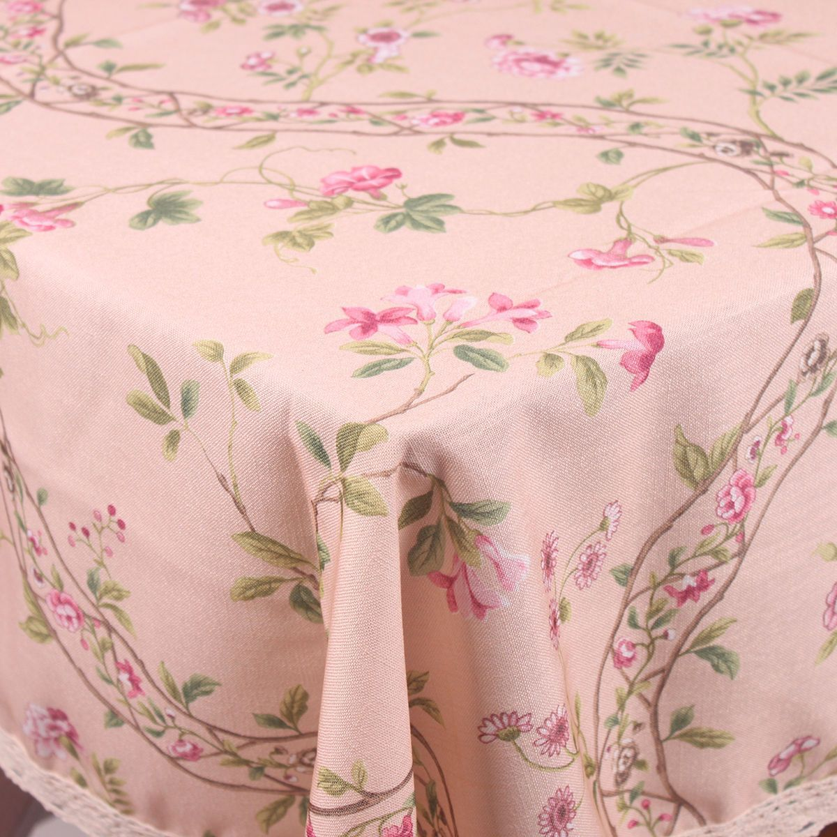 Pink Countryside Flowers Rattan Cotton Blend Lace Table Cloth Covers Home Decor