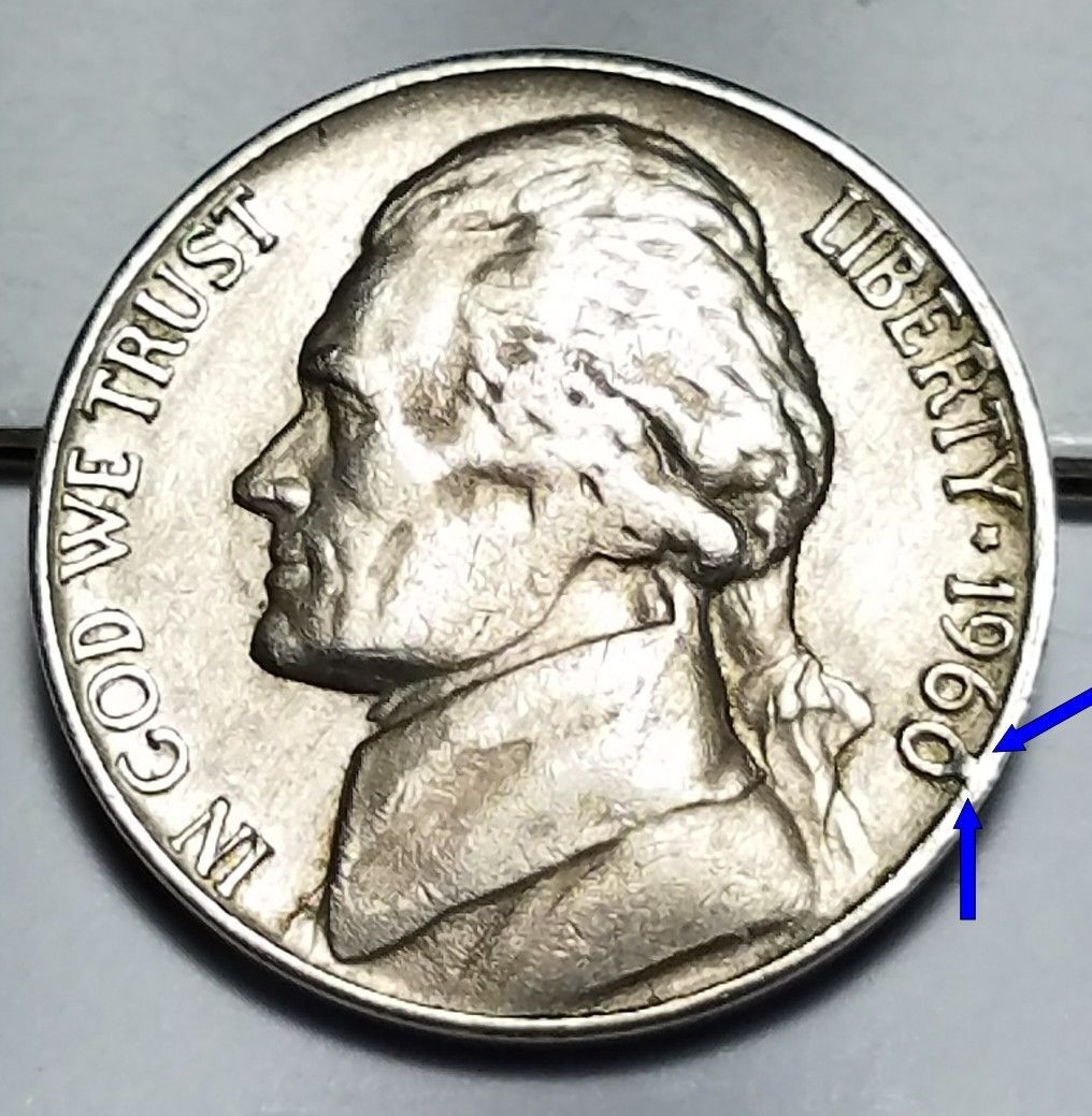 error #errorcoins 1960 D - BAR CUD JEFFERSON NICKEL MINT ERROR LOT