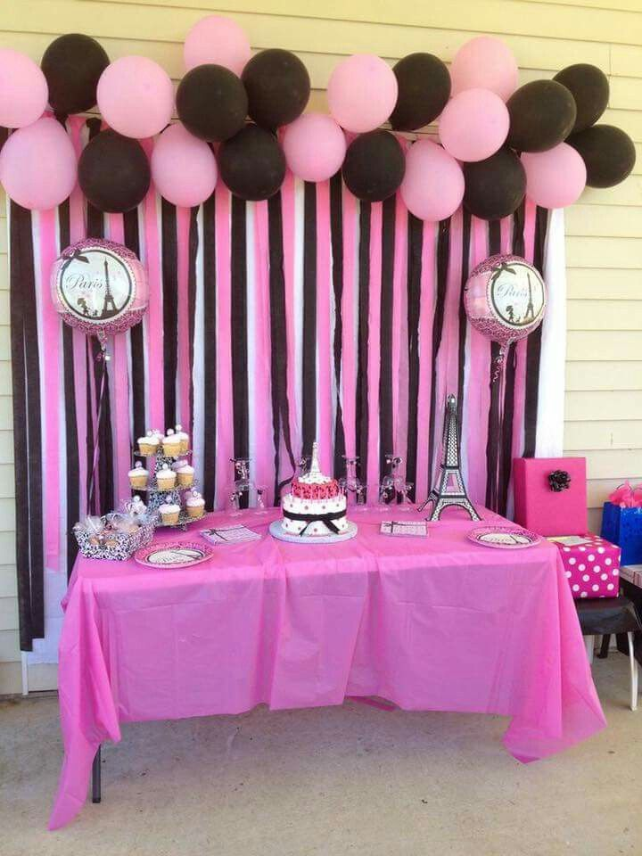 Parisian Party White Pink Black Party Birthday Ideas Pinterest