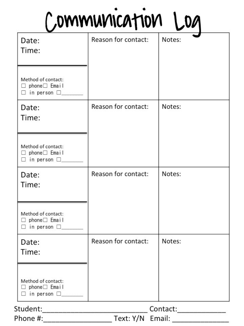 Behavior Forms Pdf Resource Room High School Counseling Parent