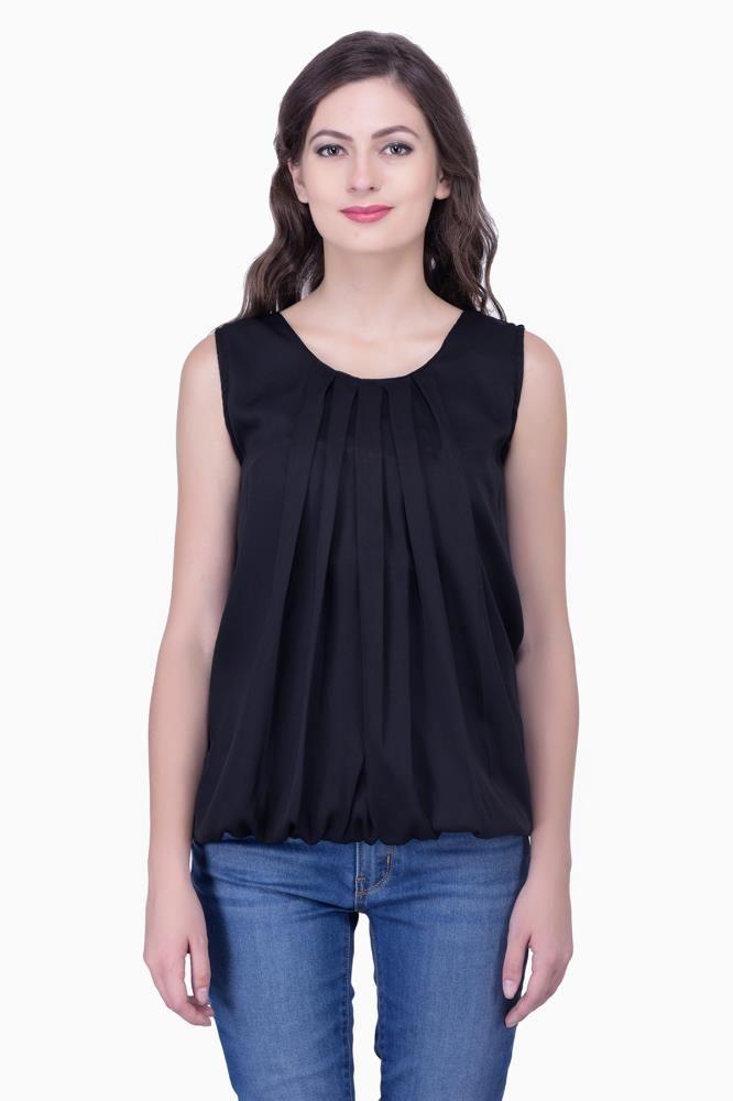 d12a094e450304 Black Solid Women Party wear office wear Casual Tops