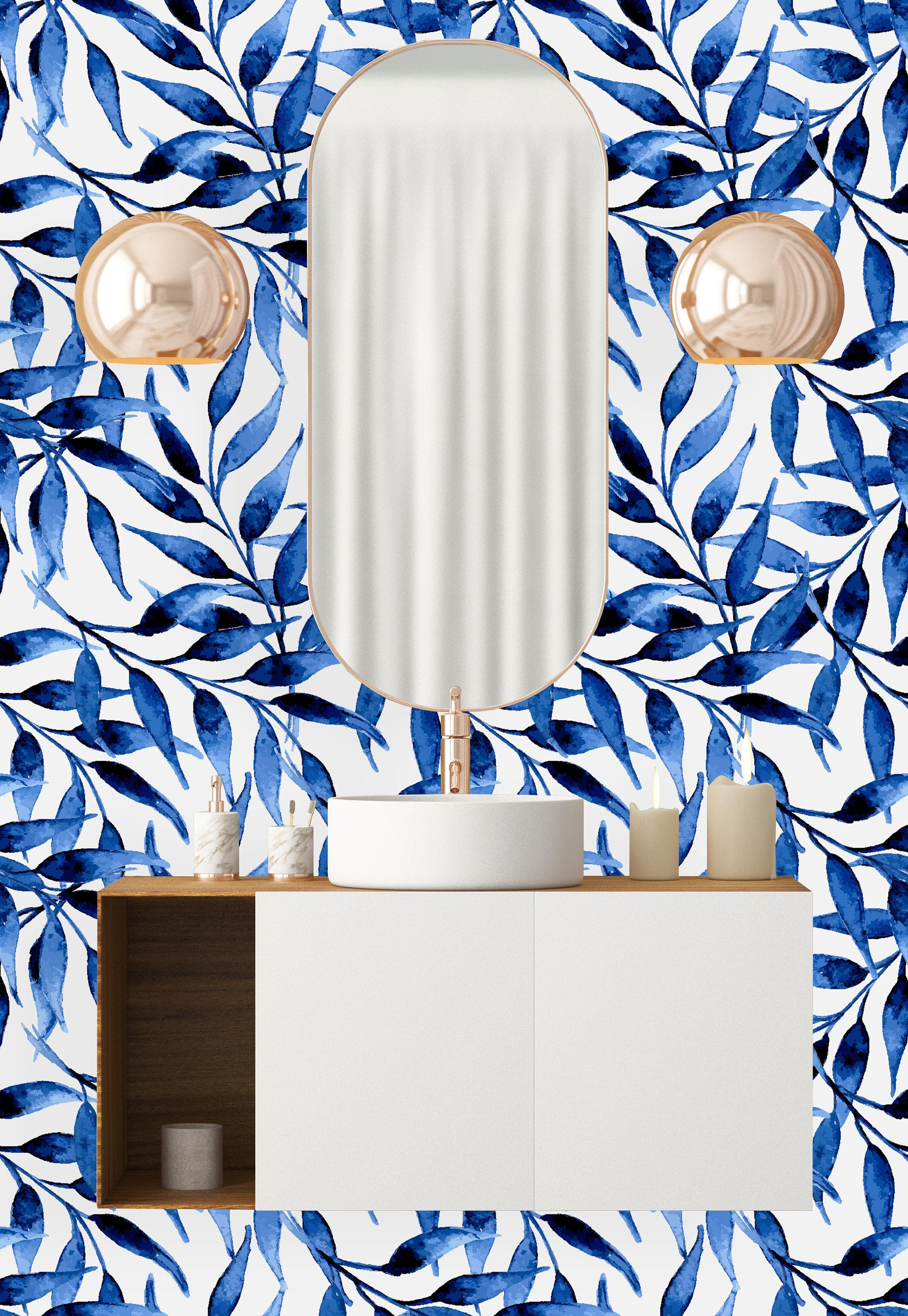 Blue Willow Leaves Removable Wallpaper Peel And Stick Etsy Removable Wallpaper Willow Leaf Self Adhesive Wallpaper