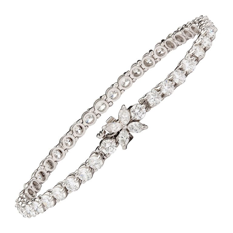 Tiffany & Co Diamond Platinum Victoria Line Bracelet