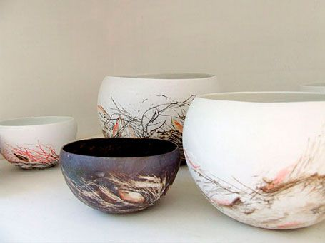 Nests by Shannon Garson - from the Little Uns ceramics exhibition at Pomme, Mornington, Victoria.