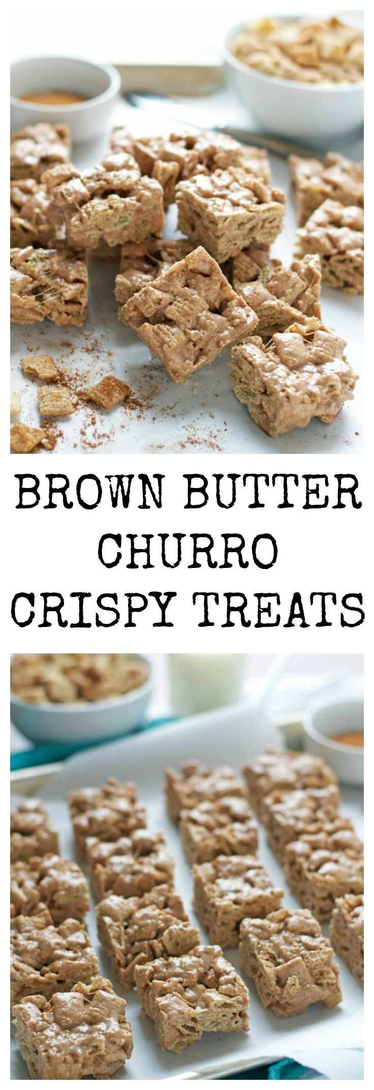 Perfect Cinco De Mayo dessert. Rice crispy treats that taste exactly like Mexican cinnamon churros. #crispytreats